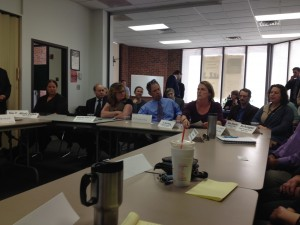 Franklin County health, education, government, law enforcement and other leaders meet with Commissioner Bartlett.