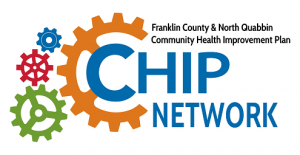 logo for the CHIP Network features multi-colored interlocking gears beside the words Franklin County & North Quabbin Community Health Improvement Plan